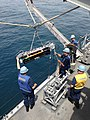 U.S. Sailors aboard the mine countermeasures ship USS Gladiator (MCM 11) launch a Seafox mine-hunting unmanned underwater vehicle in support of International Mine Countermeasures Exercise (IMCMEX) 2013 in 130514-N-JL506-086.jpg