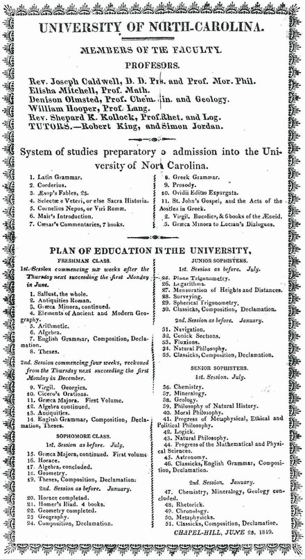 University of North Carolina course catalog from June 1819 UNC-6-1819.pdf