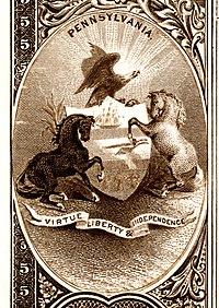 Ulusal Banknot Serisi 1882BB'nin tersinden Pennsylvania eyalet arması