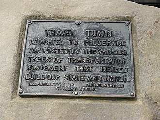 Travel Town Museum - Plaque commemorating the founders