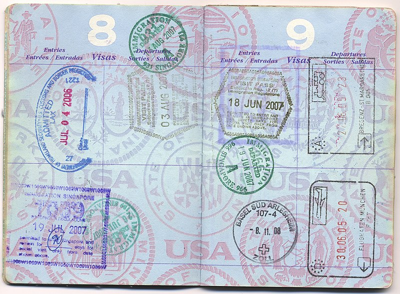 File:USA passport with immigration stamps from Austria, Germany, Singapore and the US - 20120708.jpg