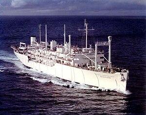 USS Sanctuary (AH-17) - Image: USNS Sanctuary (T AH 17) 1973