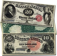 Large Sized Series Of 1880 United States Notes The 20 Note Displays Alexander Hamilton And A Red Scalloped Treasury Seal 10 Daniel