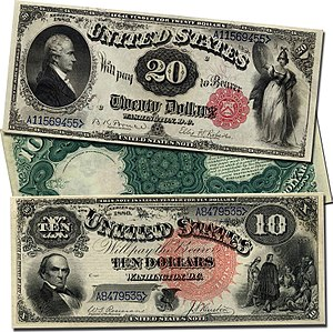 United States Note - Large-sized Series of 1880 United States Notes; the $20 note displays Alexander Hamilton and a red scalloped Treasury seal, and the $10 note displays Daniel Webster and a large red spiked Treasury seal.