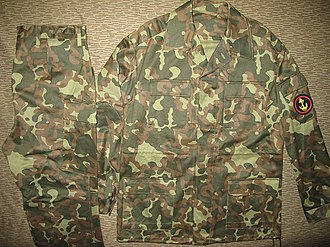 """Afghanka - Soviet Marines Afghanka in the three-colour woodland-style """"Butane"""" camouflage, issued starting in 1985."""
