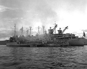 USS Dixie (AD-14) - Dixie off Korea, 1950.