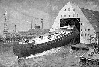 USS Maine (ACR-1) - Launching of Maine in 1890