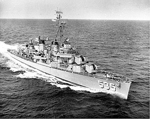 USS Miller (DD-535) underway at sea, c. the early 1960s.