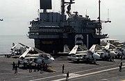 USS Ranger (CV-61) flightdeck and island 1980