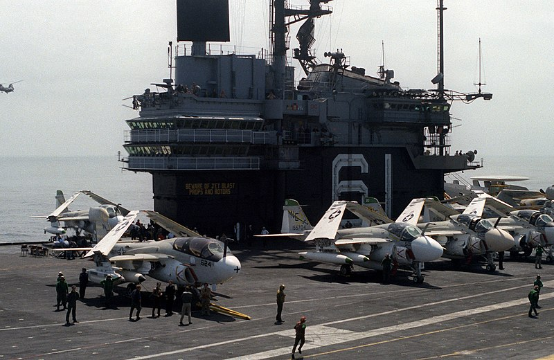 File:USS Ranger (CV-61) flightdeck and island 1980.jpg