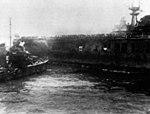 USS Russell (DD-414) approaching Hornet (CV-8) at Santa Cruz 1942.jpg