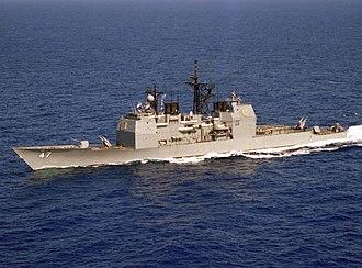 USS Ticonderoga (CG-47) - Image: USS Ticonderoga (CG 47) underway off Puerto Rico on 9 April 1983 (6379851)
