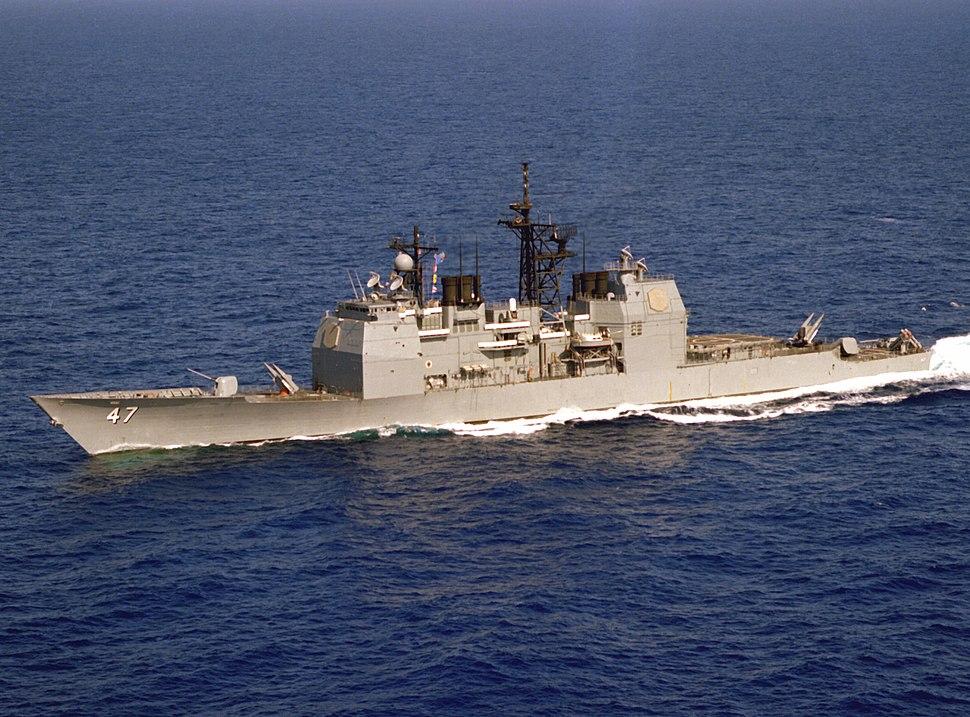 USS Ticonderoga (CG-47) underway off Puerto Rico on 9 April 1983 (6379851)