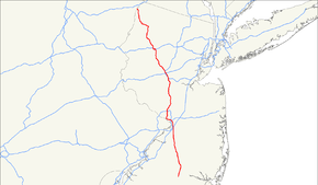 A map showing major highways in New Jersey and neighboring states. US 206 runs from the center of the southern part of New Jersey north to just into Pennsylvania from the top of New Jersey.