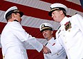 US Navy 021004-N-4154B-501 Capt. David J. Mercer (right) shakes the hand of Vice Adm. J. Cutler Dawson, Jr., Commander Second Fleet, during a Change of Command Ceremony.jpg