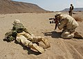 US Navy 021112-N-4374S-041 Photographer's Mate 2nd Class Eric Lippmann assigned to Fleet Combat Camera Atlantic, captures video imagery of a U.S. Marine firing an M-16 during a training exercise in Djibouti.jpg