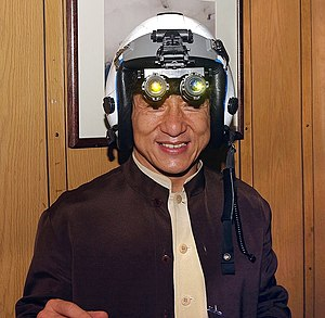 Night vision device - Jackie Chan tries on a fighter pilot's helmet with night vision goggles
