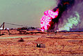 US Navy 030327-M-2306K-004 Firefighters fight an oil blaze in Gas-Oil Separation Plant Six as part of their ongoing support of Operation Iraqi Freedom.jpg