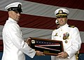 US Navy 030823-N-4459K-005 Commander Thomas J. McDonough, commanding officer of Fleet Composite Squadron Eight (VC-8) Redtails, is presented with the disestablishment pennant as the last TA-4J Skyhawk squadron.jpg
