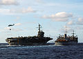US Navy 040616-N-4374S-001 The aircraft carrier USS John F. Kennedy (CV 67) receives fuel from the fast combat support ship USS Seattle (AOE 3) during an underway replenishment.jpg