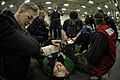 US Navy 050120-N-0120R-016 Sailors participate in a mass casualty drill in the hangar bay aboard the conventionally powered aircraft carrier USS Kitty Hawk (CV 63).jpg