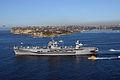 US Navy 050610-N-2468S-001 The amphibious command ship USS Blue Ridge (LCC 19) departs Australia, en route to the Coral Sea to take part in Talisman Saber 2005.jpg