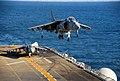 US Navy 081011-N-4774B-196 An AV-8B Harrier II jet 214 lands aboard the flight deck of USS Boxer (LHD 4).jpg