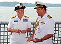 US Navy 090804-N-5207L-040 Rear Adm. Nora Tyson listens to Col. Haji Abdul Halim bin Haji Mohd Hanifah before the opening ceremony for Cooperation Afloat Readiness and Training (CARAT) Brunei 2009.jpg