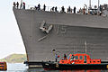 US Navy 101111-N-7293M-409 Sailors aboard the amphibious transport dock ship USS Ponce (LPD 15) haul in the mooring lines as Ponce gets underway.jpg