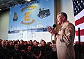 US Navy 110428-N-1324F-006 Vice Adm. Mark I. Fox addresses Sailors and Marines aboard USS Enterprise (CVN 65) during an all-hands call.jpg