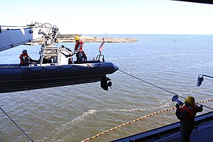 US Navy 120104-N-LI693-135 Boatswain's Mate 1st Class Terrence Hurst, left, directs the operation of the boat davit.jpg
