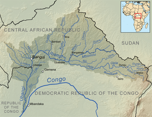 Mbomou River - Map showing the Mbomou River within the Ubangi River drainage basin.