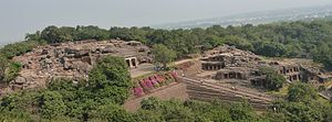 Udayagiri caves from Khandagiri hill.jpg