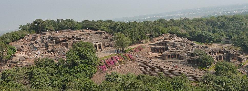 Udayagiri caves from Khandagiri hill