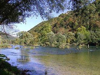 Una (Sava) - Una below Ostrožac Castle, downstream of Bihać