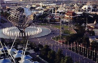 Robert Moses - View of the 1964–1965 New York World's Fair as seen from the observation towers of the New York State pavilion. The Fair's symbol, the Unisphere, is the central image.
