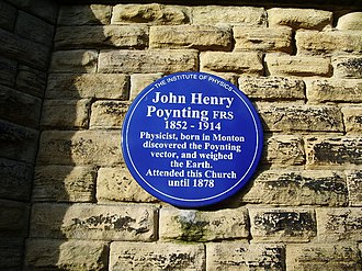 John Henry Poynting - Blue plaque to Poynting erected in Salford by the Institute of Physics