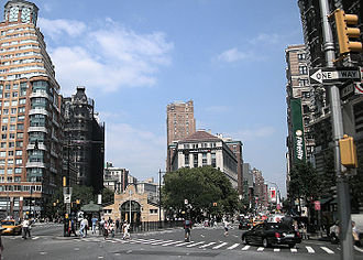 Upper West Side - Verdi Square at the intersection of Broadway and Amsterdam Avenue. The 72nd Street subway station is in the center of the square.