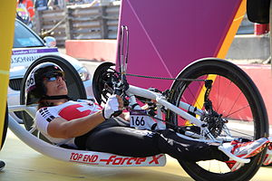 Para-cycling - A handcyclist at the 2012 Paralympic Games