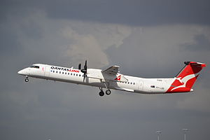 QantasLink - Bombardier Dash 8 Q400 taking off from Sydney Airport