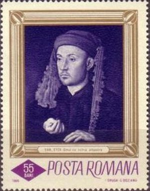 Portrait of a Man with a Blue Chaperon - The portrait on a 1966 Romanian postage stamp.