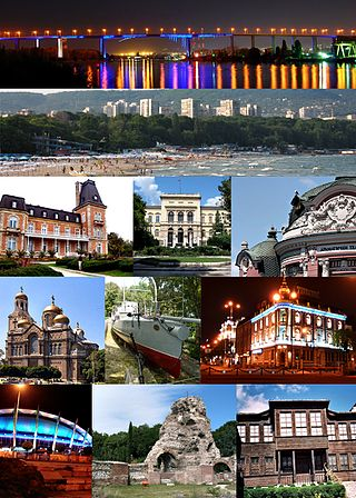 From top left: Asparuhov most, Black Sea beach, Euxinograd, Varna Archaeological Museum, Stoyan Bachvarov Dramatic Theatre, Dormition of the Mother of God Cathedral, Drazki torpedo boat, Navy Club, Palace of Sports and Culture, Ancient Roman baths, Varna Ethnographic Museum