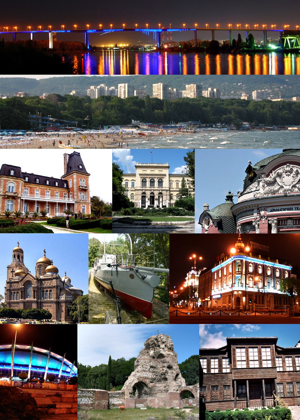 From top left: Asparuh Bridge, Black Sea beach, Euxinograd, Varna Archaeological Museum, Stoyan Bachvarov Dramatic Theatre, Dormition of the Mother of God Cathedral, Drazki torpedo boat, The Navy Club, Palace of Culture and Sports, The ancient Roman baths, Varna Ethnographic Museum