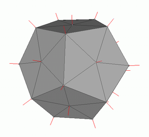 Vertex normal - Vertex normals of a dodecahedral mesh.