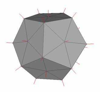 Vertex normal - Vertex normals of a dodecahedral mesh.