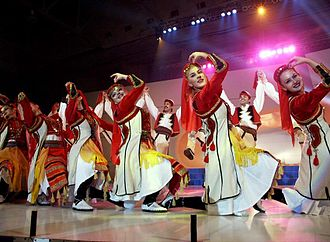 Kosovo Albanians - Kosovo Albanian ethnic costume and dance.
