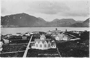 Metlakatla, Alaska - View of Metlakahtla, Alaska in 1889.