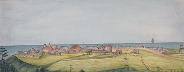 Fort Ross, Russian settlement in California, 1841, by Ilya Gavrilovich Voznesensky. View of Settlement Ross, 1841 (variation).jpg