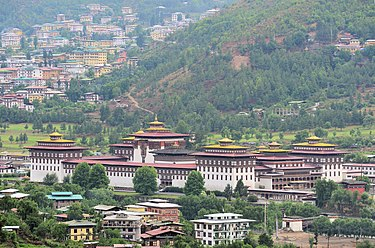The Tashichho Dzong in Thimphu has been the seat of the Bhutanese government since 1952. View of Tashichodzong from the NE.jpg