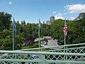 View with flags from the Maria Valeria Bridge in Esztergom, Hungary.jpg